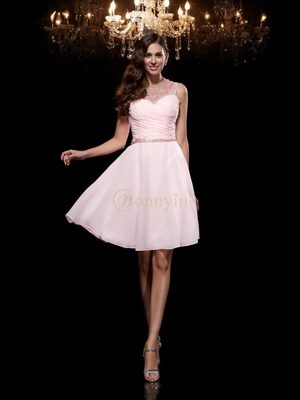 Pink Chiffon Scoop A-Line/Princess Short/Mini Cocktail Dresses