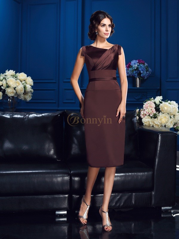 Brown Satin Sheath/Column Knee-Length Mother of the Bride Dresses