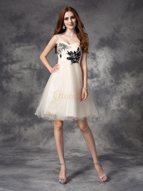 Champagne Net Sweetheart A-line/Princess Short/Mini Cocktail Dresses