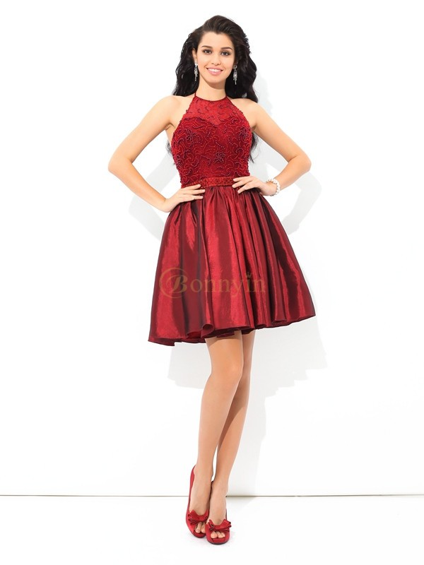 Burgundy Taffeta Halter A-Line/Princess Short/Mini Cocktail Dresses