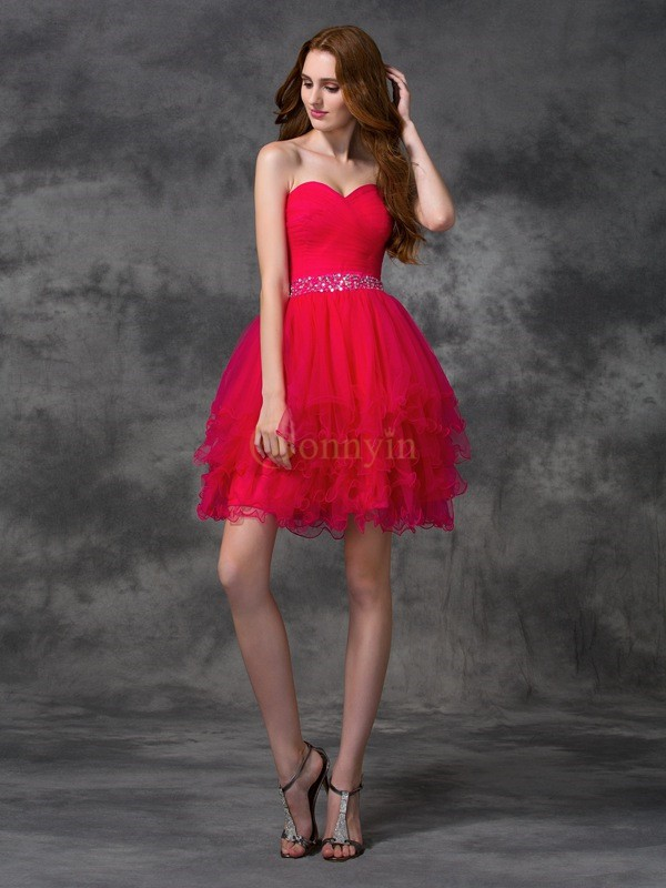 Red Satin Sweetheart A-line/Princess Short/Mini Cocktail Dresses