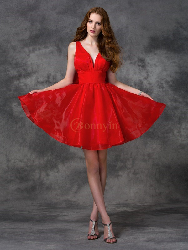 Red Organza V-neck A-line/Princess Short/Mini Cocktail Dresses
