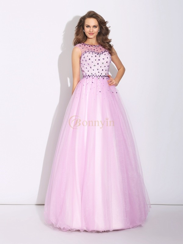 Pearl Pink Net Jewel A-Line/Princess Floor-Length Evening Dresses