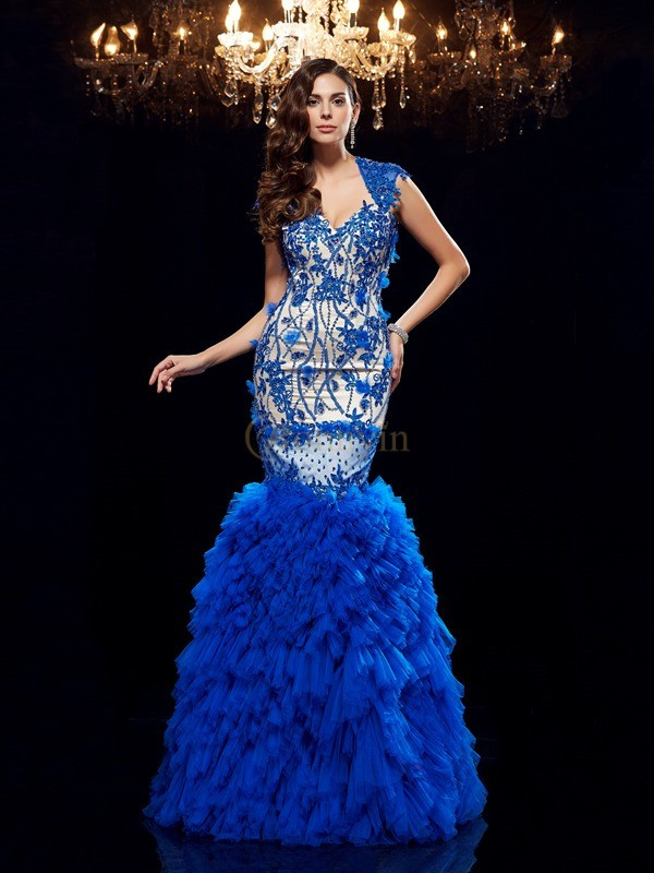 Royal Blue Net Sweetheart Trumpet/Mermaid Floor-Length Evening Dresses