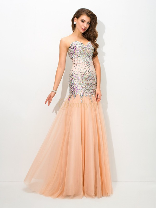 Champagne Net Sweetheart Trumpet/Mermaid Floor-Length Evening Dresses