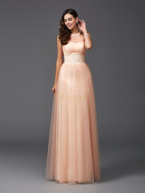 Net Halter A-Line/Princess Floor-Length Evening Dresses