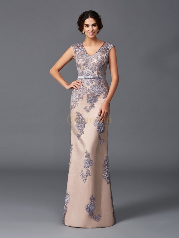 Satin Straps Sheath/Column Floor-Length Evening Dresses