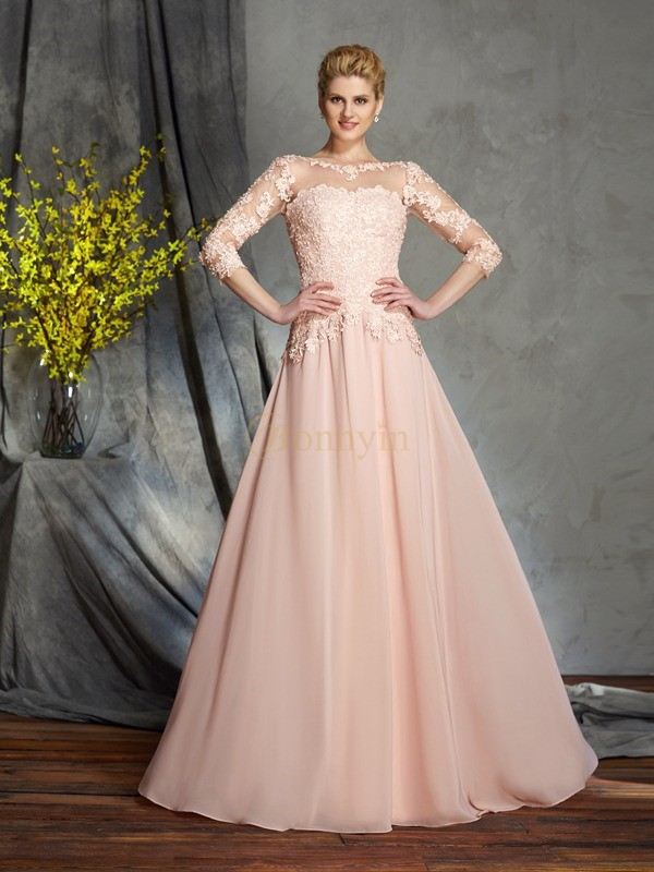 Pink Chiffon Scoop A-Line/Princess Floor-Length Mother of the Bride Dresses
