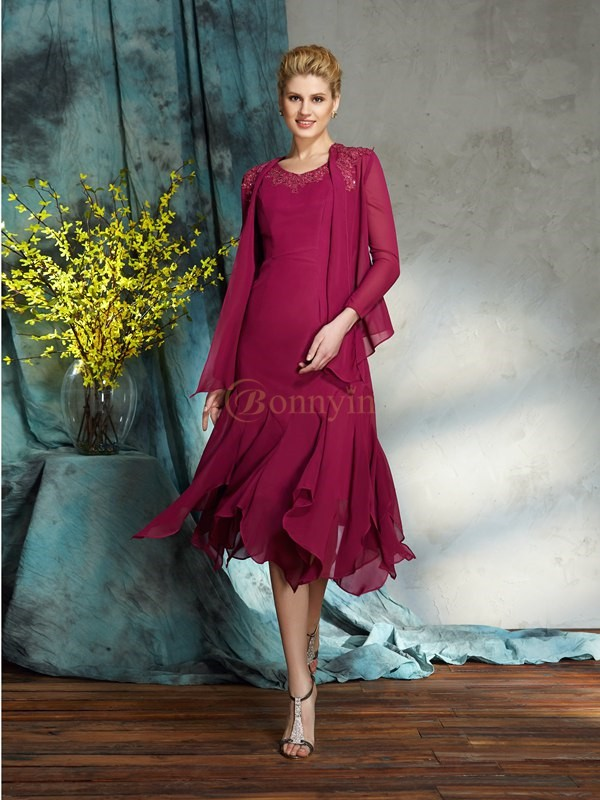 Burgundy Chiffon Scoop A-Line/Princess Knee-Length Mother of the Bride Dresses