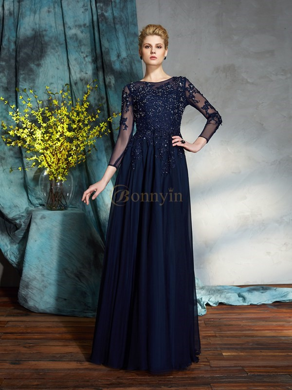 Dark Navy Chiffon Scoop A-Line/Princess Floor-Length Mother of the Bride Dresses