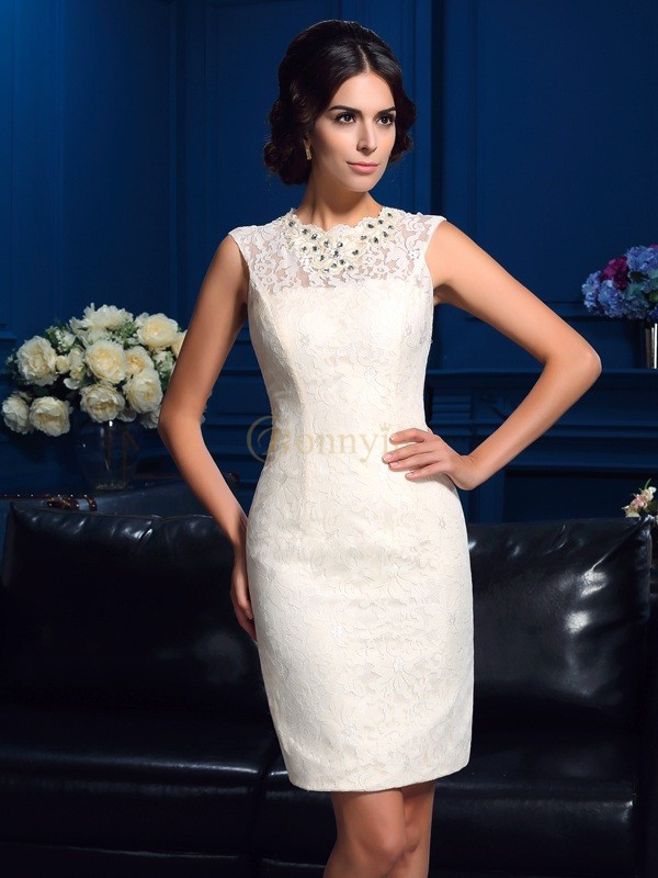 Ivory Lace Jewel Sheath/Column Short/Mini Mother of the Bride Dresses