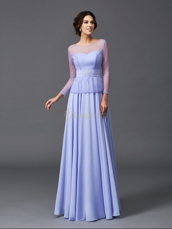 Lavender Chiffon Scoop A-Line/Princess Floor-Length Mother of the Bride Dresses