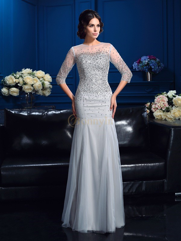 Silver Net Scoop Sheath/Column Floor-Length Mother of the Bride Dresses
