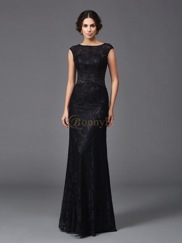 Black Lace Scoop Sheath/Column Floor-Length Mother of the Bride Dresses