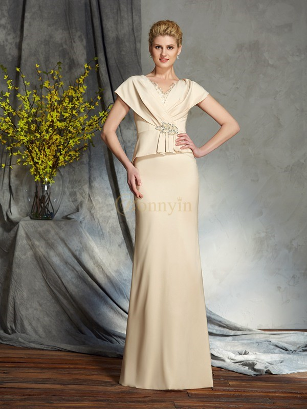 Silk like Satin V-neck Sheath/Column Floor-Length Mother of the Bride Dresses