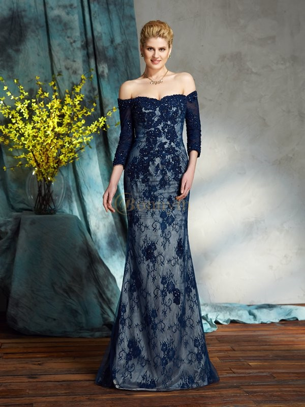 Lace Off-the-Shoulder Trumpet/Mermaid Floor-Length Mother of the Bride Dresses