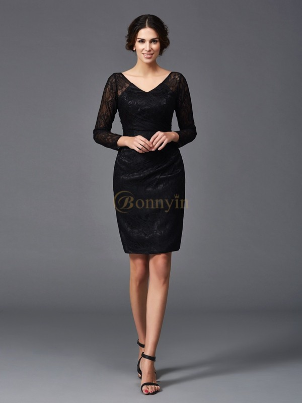 Black Elastic Woven Satin V-neck Sheath/Column Knee-Length Mother of the Bride Dresses