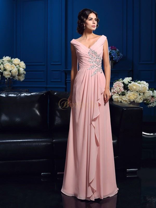 Pearl Pink Chiffon V-neck A-Line/Princess Floor-Length Mother of the Bride Dresses