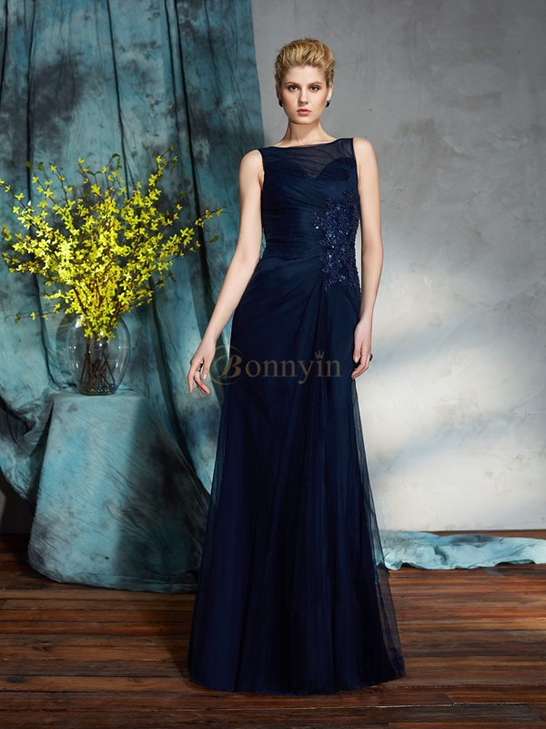 Net Bateau Sheath/Column Floor-Length Mother of the Bride Dresses