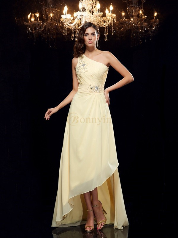 Daffodil Chiffon One-Shoulder A-Line/Princess Asymmetrical Prom Dresses