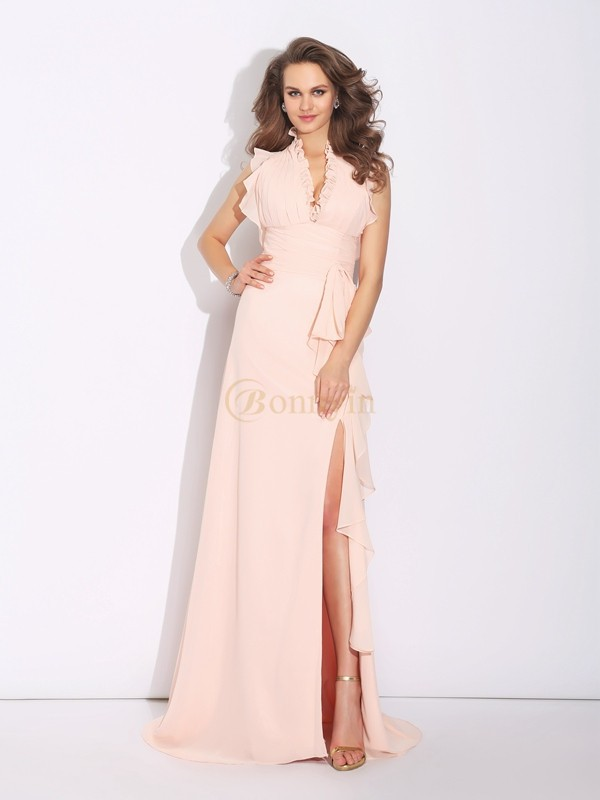 Pearl Pink Chiffon High Neck A-Line/Princess Sweep/Brush Train Prom Dresses
