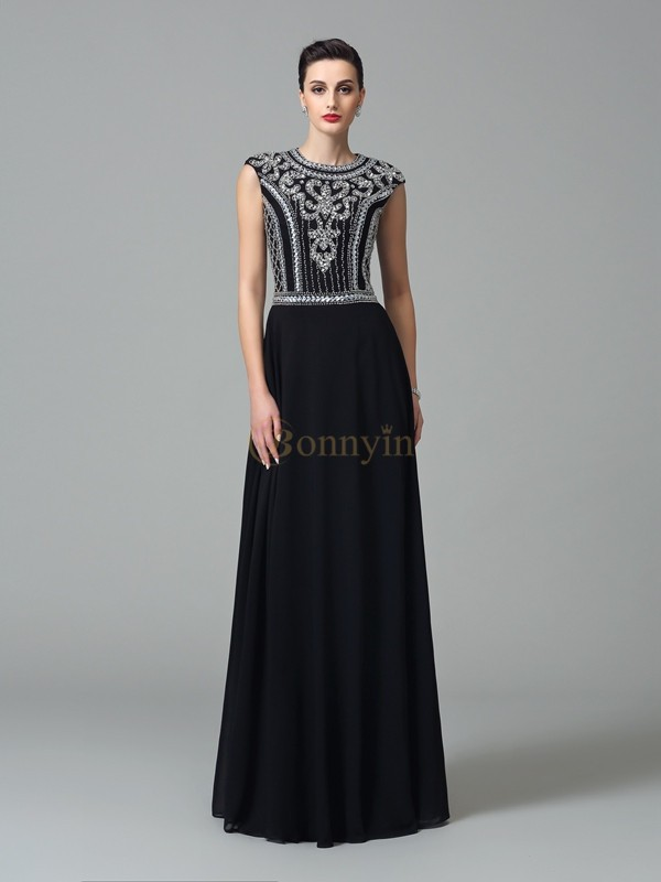 Black Chiffon Jewel A-Line/Princess Floor-Length Prom Dresses