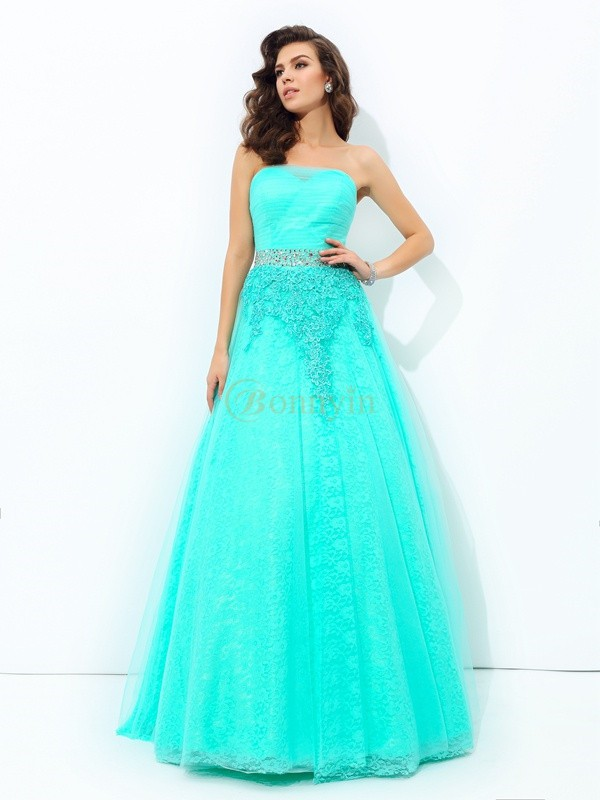 Blue Elastic Woven Satin Strapless A-line/Princess Floor-Length Prom Dresses
