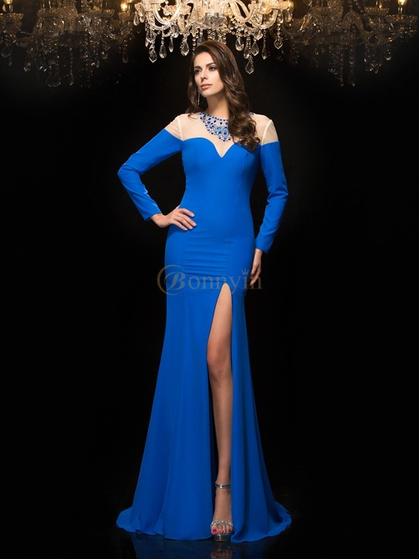 Blue Chiffon Jewel Sheath/Column Floor-Length Prom Dresses