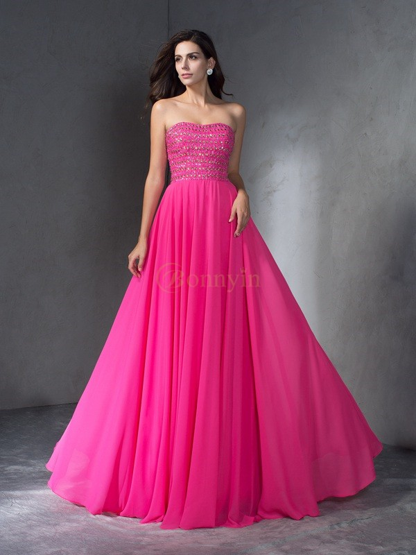 Watermelon Chiffon Sweetheart A-Line/Princess Sweep/Brush Train Prom Dresses