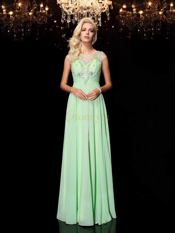 Green Chiffon Scoop A-line/Princess Floor-Length Prom Dresses