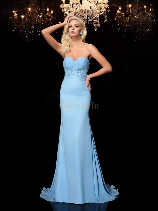 Light Sky Blue Chiffon Sweetheart Trumpet/Mermaid Sweep/Brush Train Prom Dresses
