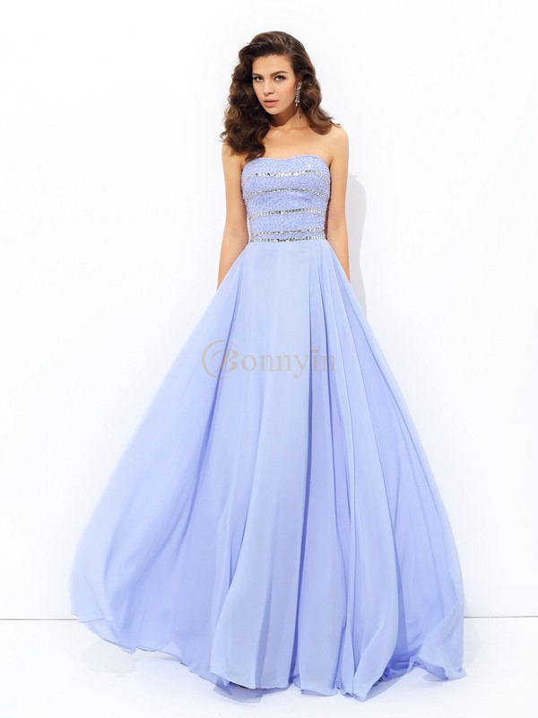 Lavender Chiffon Strapless A-line/Princess Sweep/Brush Train Prom Dresses