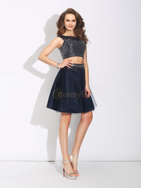 Dark Navy Net Bateau A-Line/Princess Short/Mini Prom Dresses