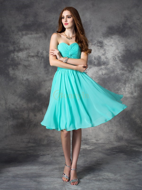 Blue Chiffon Sweetheart A-line/Princess Knee-Length Prom Dresses
