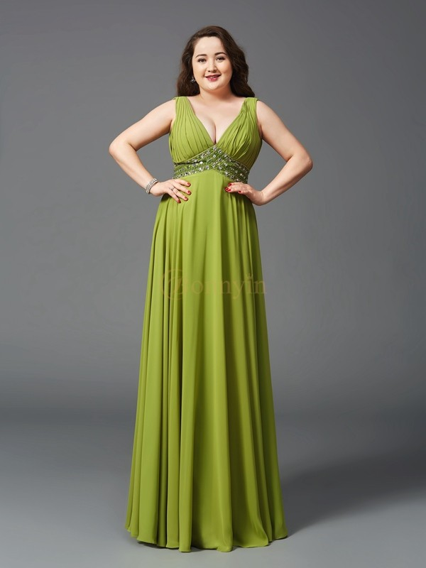 Green Chiffon Straps A-Line/Princess Floor-Length Prom Dresses