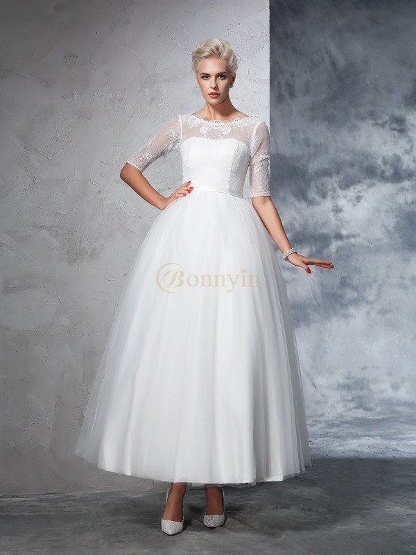 Ivory Net Bateau Ball Gown Ankle-Length Wedding Dresses
