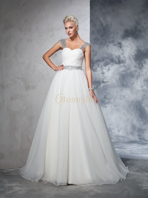 Ivory Net Straps Ball Gown Chapel Train Wedding Dresses