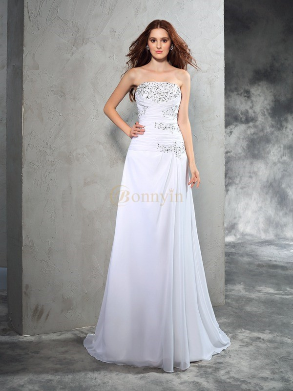 White Chiffon Strapless Sheath/Column Sweep/Brush Train Wedding Dresses