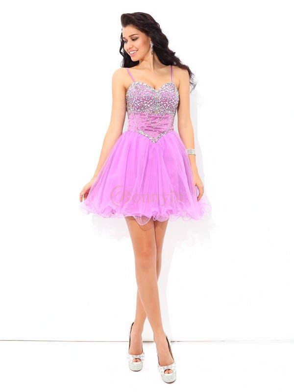 Lilac Net Spaghetti Straps A-Line/Princess Short/Mini Cocktail Dresses