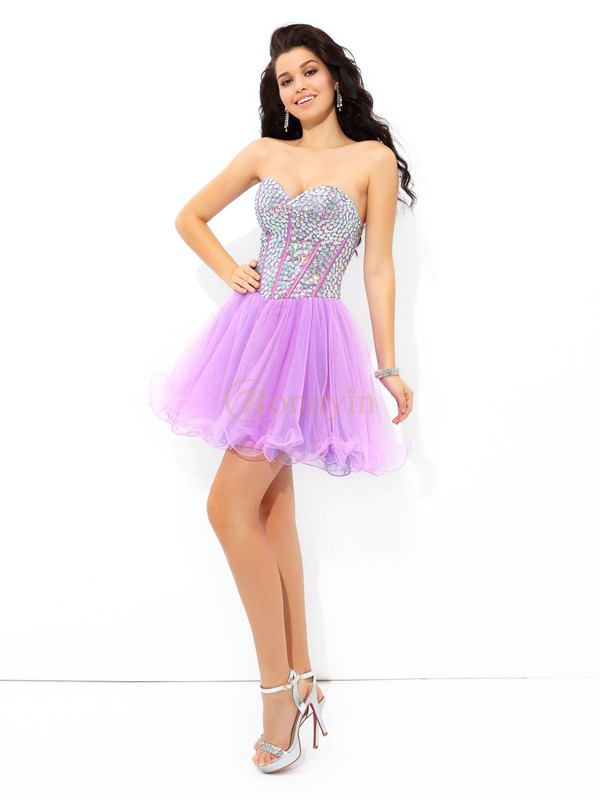Lilac Net Sweetheart A-Line/Princess Short/Mini Cocktail Dresses