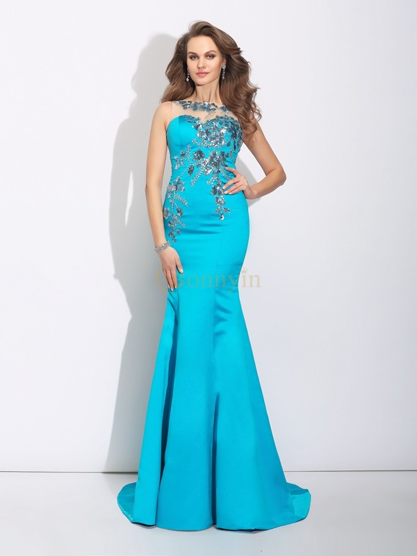 Blue Satin Scoop Trumpet/Mermaid Sweep/Brush Train Evening Dresses