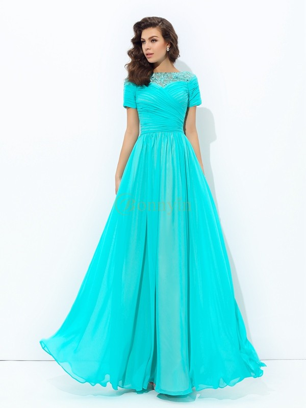 Chiffon Bateau A-line/Princess Floor-Length Evening Dresses