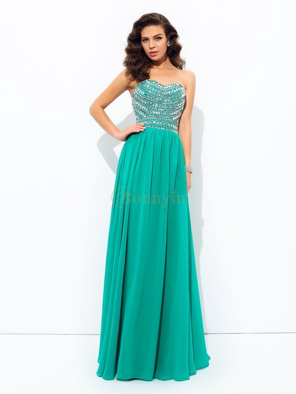 Dark Green Chiffon Sweetheart A-line/Princess Floor-Length Prom Dresses