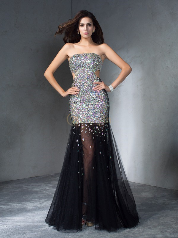 Silver Satin Strapless Sheath/Column Floor-Length Prom Dresses