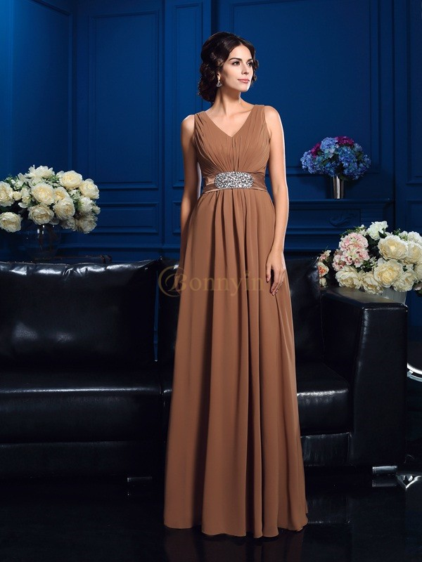 Brown Chiffon V-neck A-Line/Princess Floor-Length Mother of the Bride Dresses