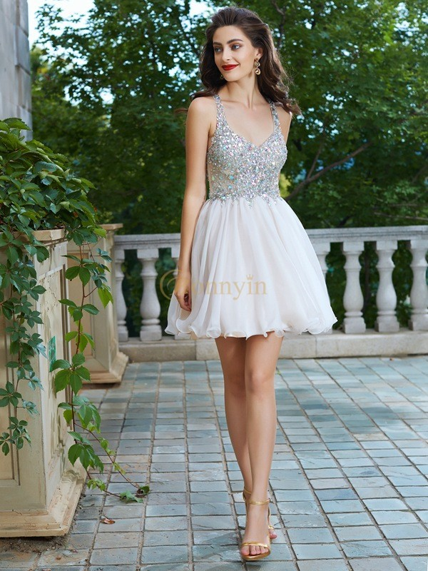 Champagne Chiffon Straps A-Line/Princess Short/Mini Homecoming Dresses