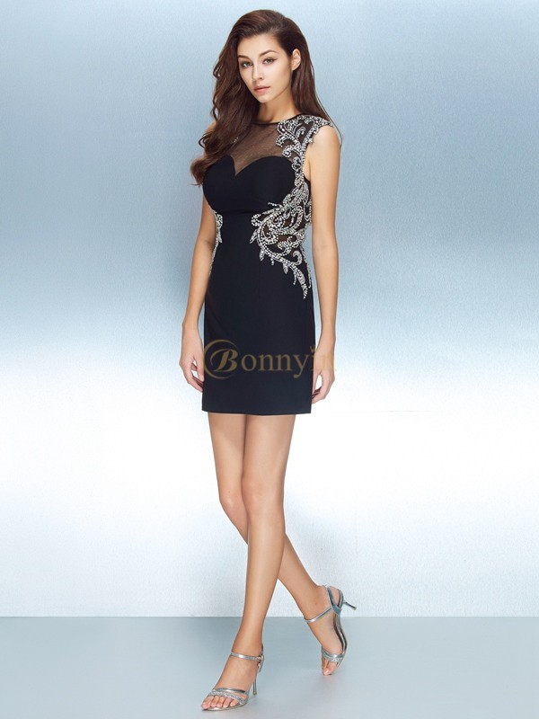 Dark Navy Net Jewel Sheath/Column Short/Mini Homecoming Dresses
