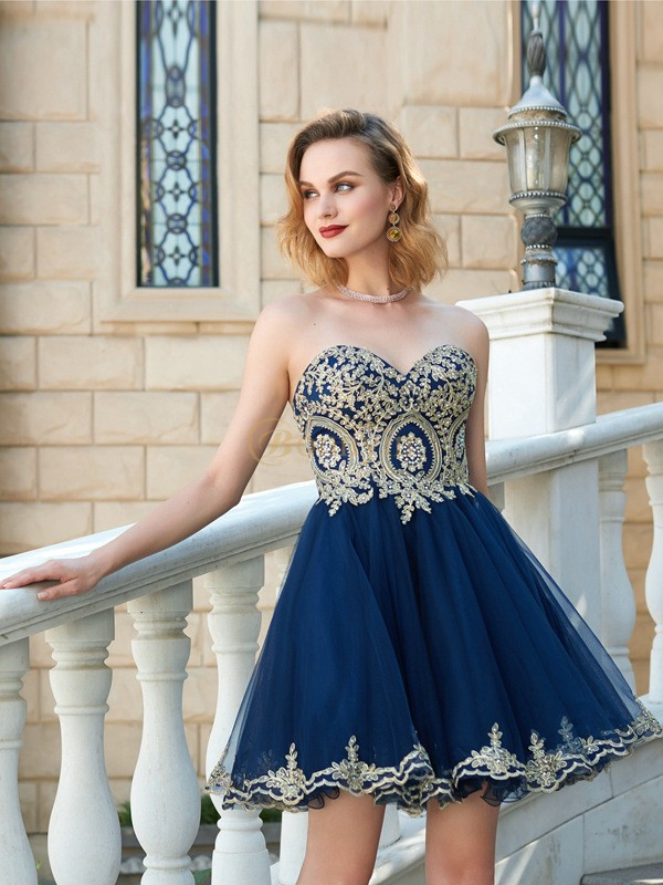 Dark Navy Net Sweetheart A-Line/Princess Short/Mini Homecoming Dresses