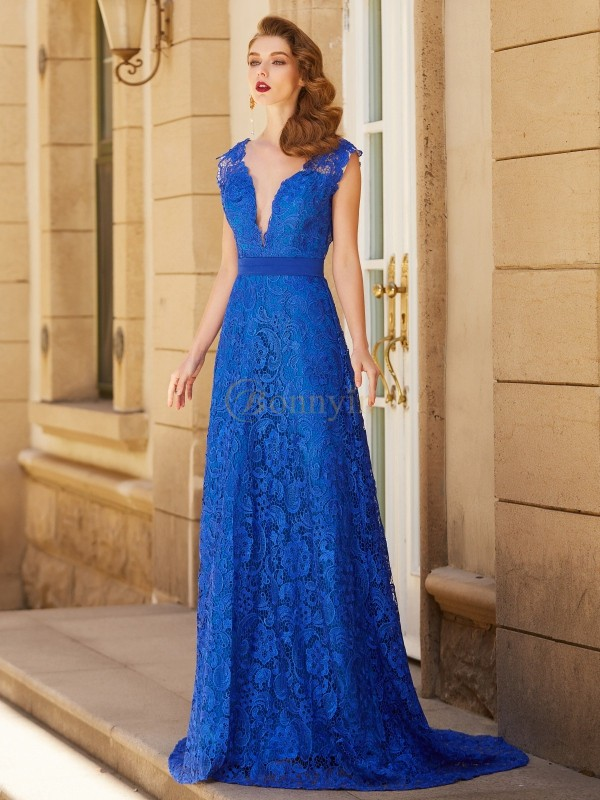Royal Blue Lace V-neck A-Line/Princess Sweep/Brush Train Dresses