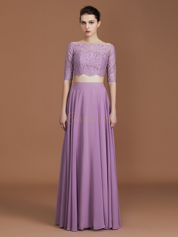 Lavender Chiffon Off-the-Shoulder A-Line/Princess Floor-Length Bridesmaid Dresses
